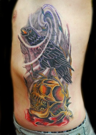 Crow Tree Skull Tattoo On Rib Side