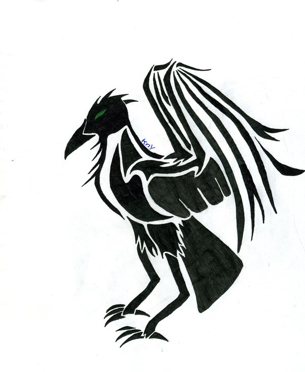 Crow Tribal Tattoo Sketch