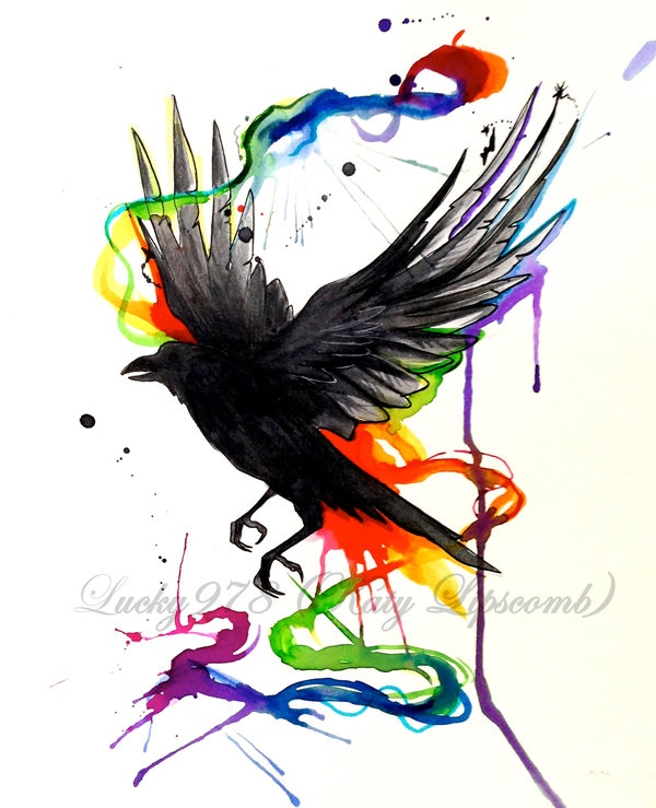 Crow Watercolor Tattoo Model