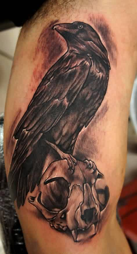 Crow With Cat Skull Tattoo On Muscles