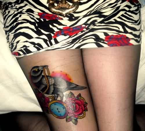 Crow With Clock And Rose Tattoos On Right Thigh