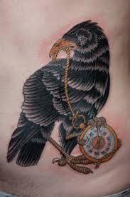 Crow With Clock Tattoo On Hip