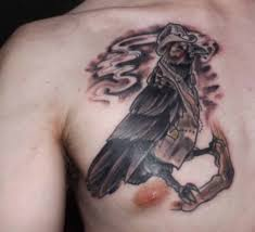 Crow With Hat Tattoo On Chest
