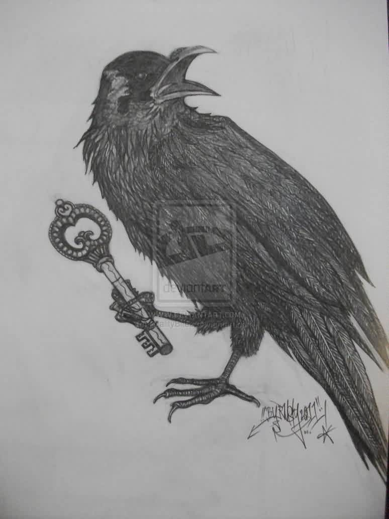 Crow With Key To The Underworld Tattoo Design