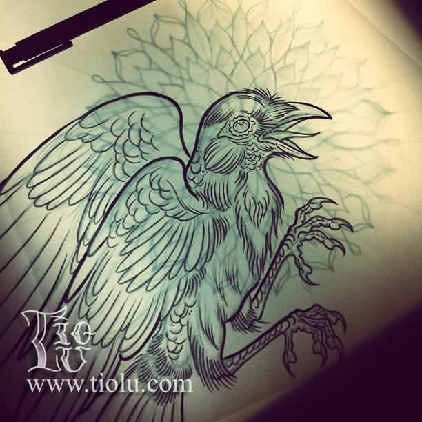 Crow With Mandala Tattoo Drawing