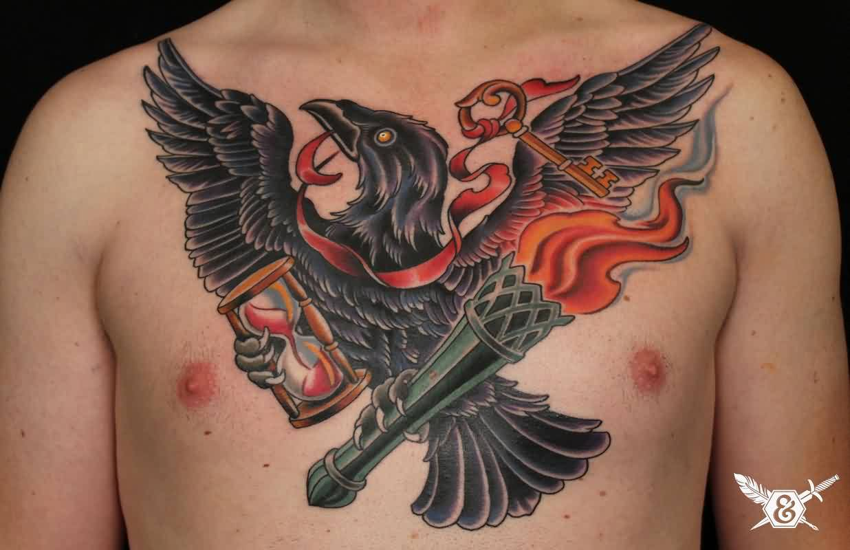 Crow With Ribbon Key And Sandclock Tattoo On Chest
