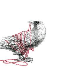 Crow With Thread Tattoo Sample