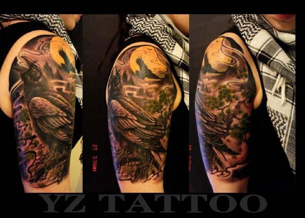 Crow World Tattoo On Half Sleeve