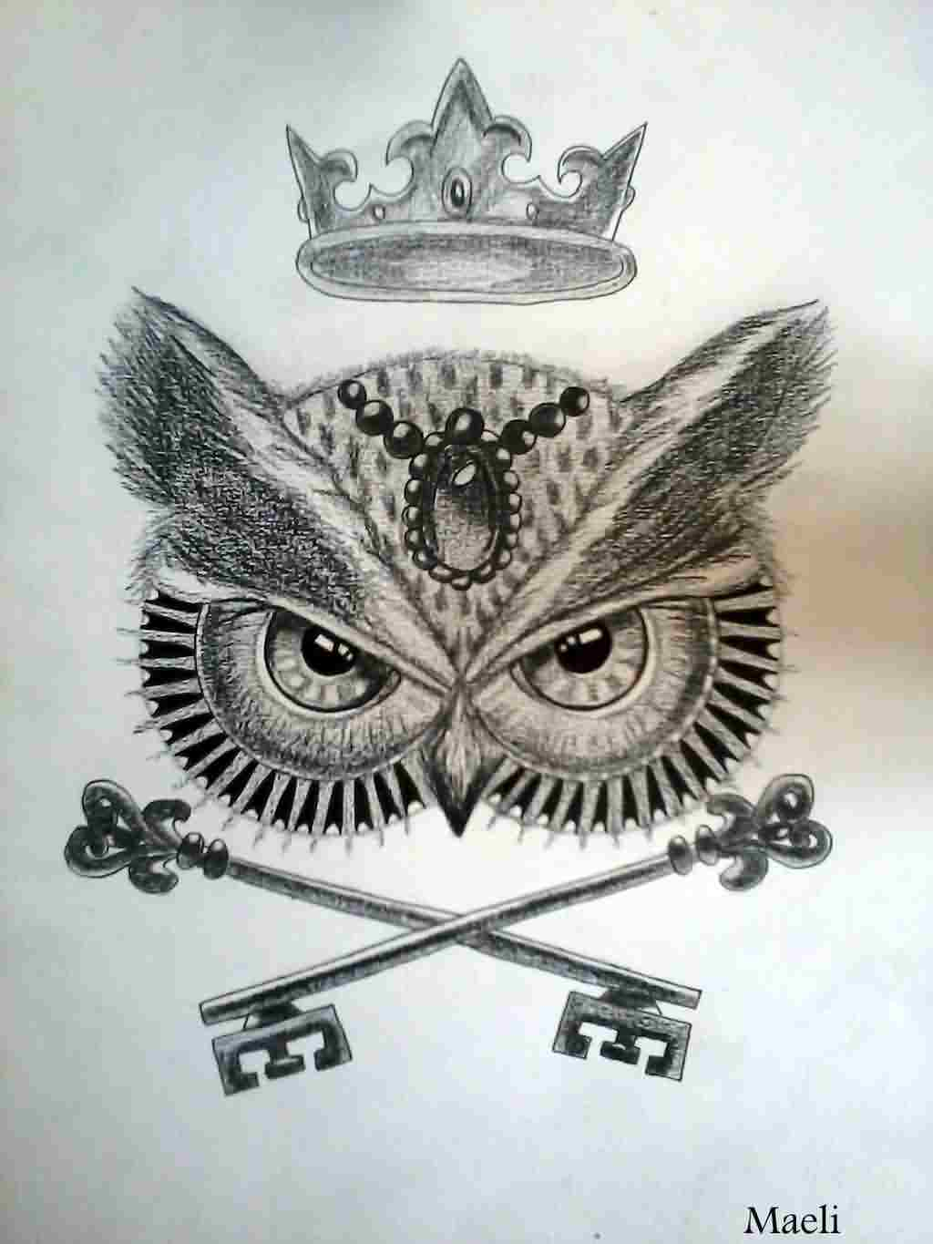 Crown Owl And Crossed Key Tattoos Model