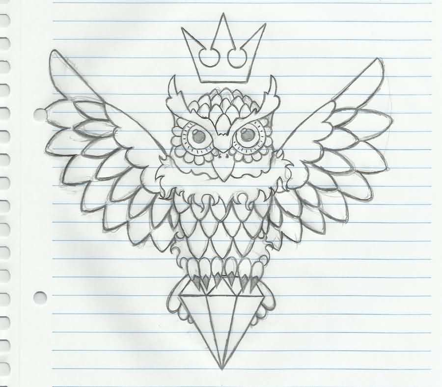 Crown Owl And Diamond Tattoos Sketch