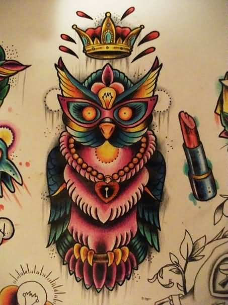 Crown Owl And Lipstick Tattoo Design