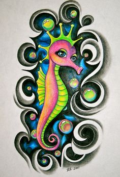 Crown Seahorse And Waves Tattoo Design