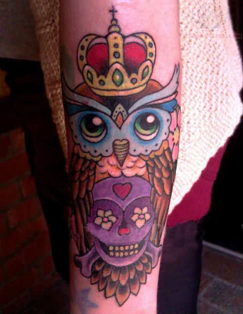 Crowned Owl And Purple Skull Tattoos On Arm