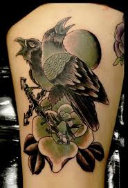 Crows And Flower Tattoos