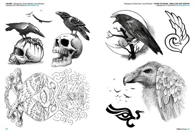 Crows And Skull Tattoos Sheet