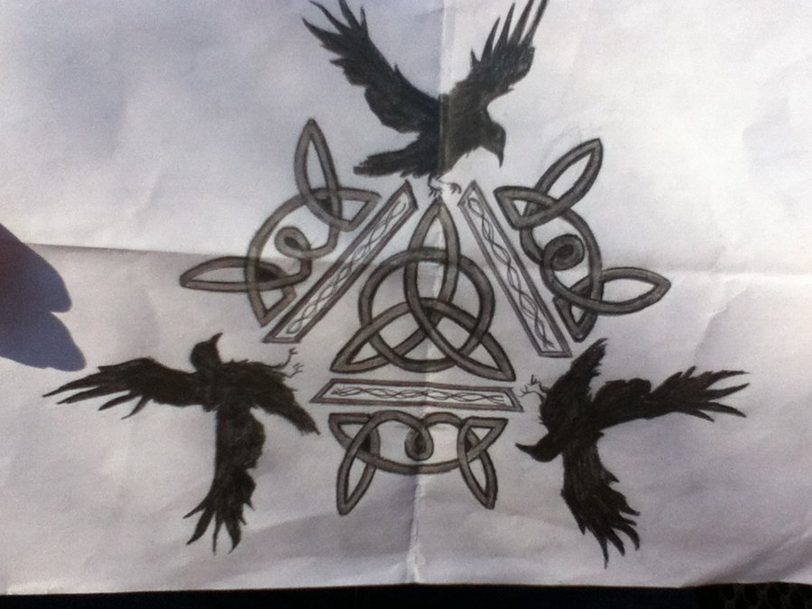 Crows Around Celtic Knot Tattoo Designs