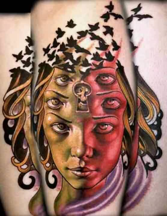 Crows Flying From Colored Woman Head Tattoo