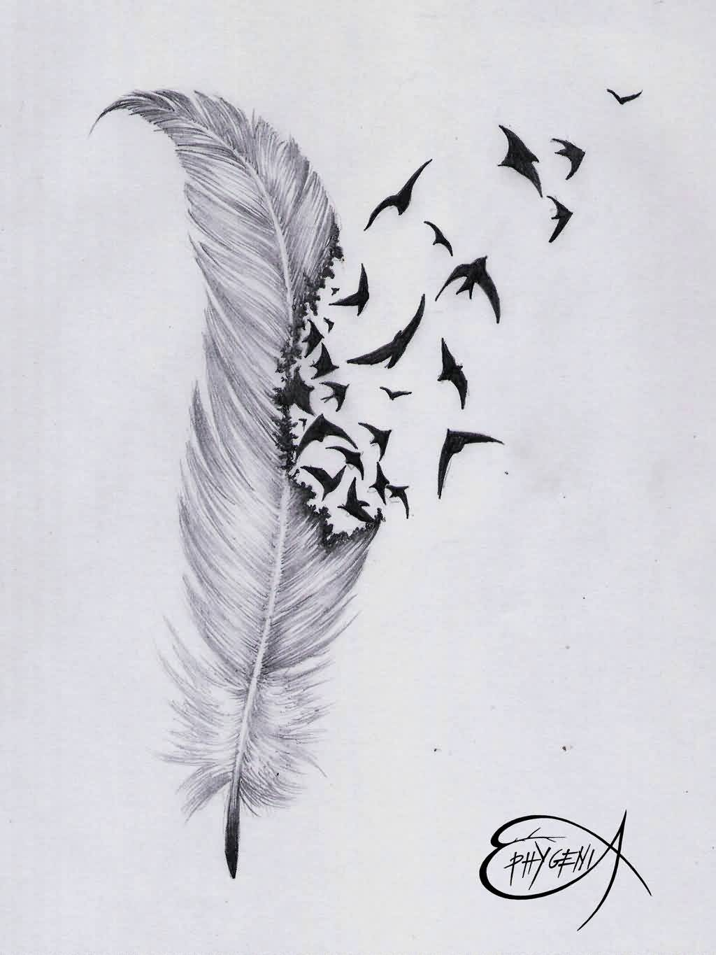 Crows Flying From Feather Tattoo Sketch