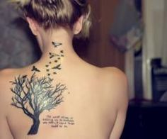 Crows Flying From Tree Tattoo On Back Neck