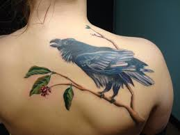 Crows On Branch Tattoo For Women