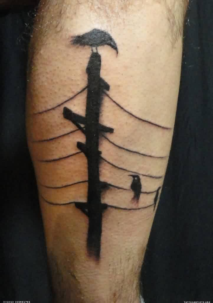 Crows On Electric Pillar Tattoo