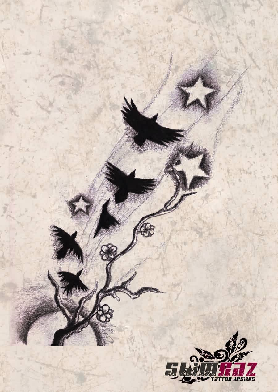 Crows On Flight Tattoo Sketch