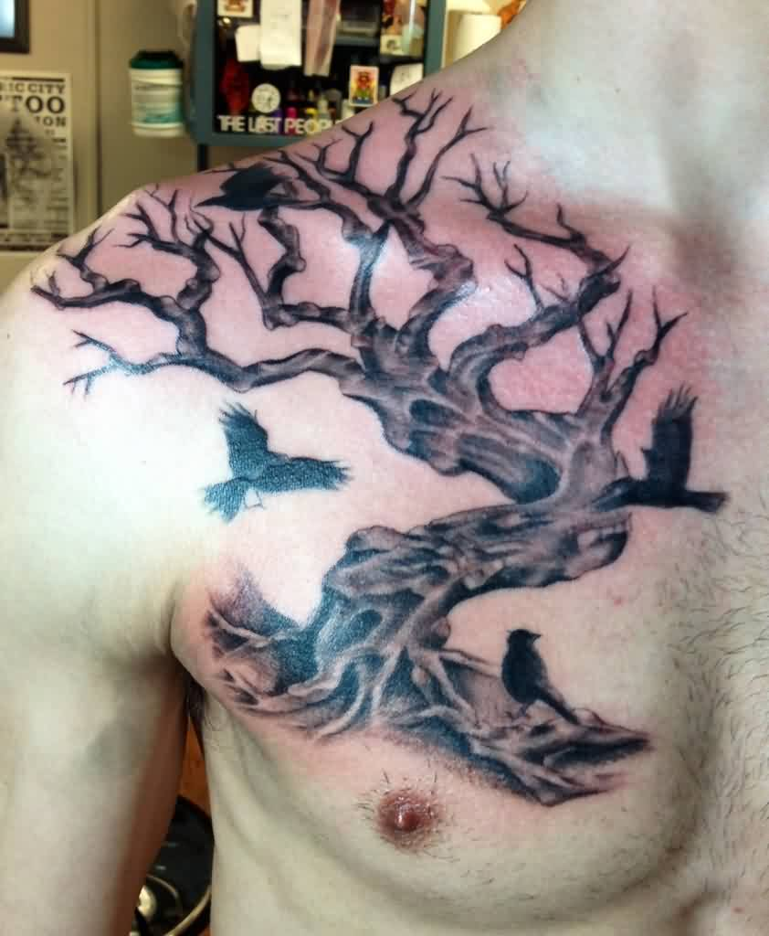 Crows On Tree Tattoo On Right Front Shoulder