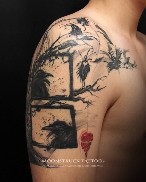 Crows On Tree Tattoo On Shoulder