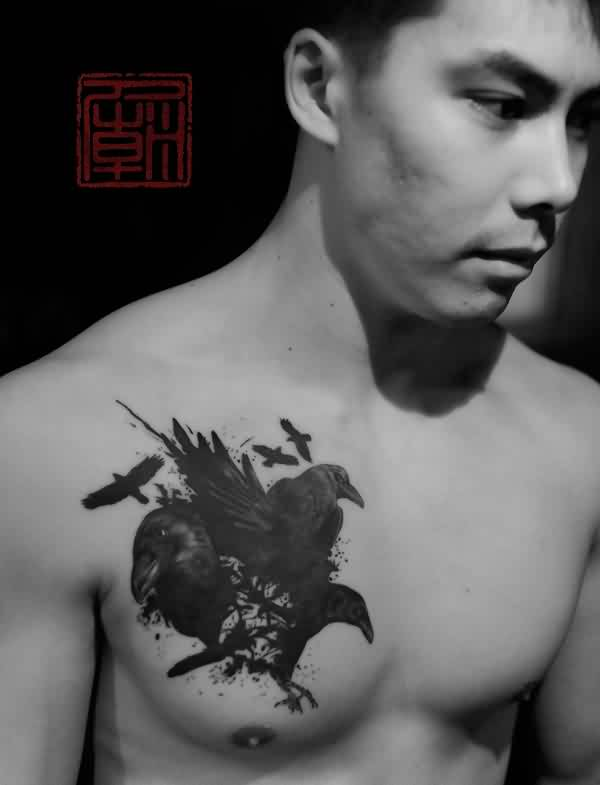 Crows Tattoos On Chest For Guys