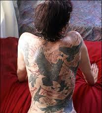 Crows Tattoos On Entire Backbody
