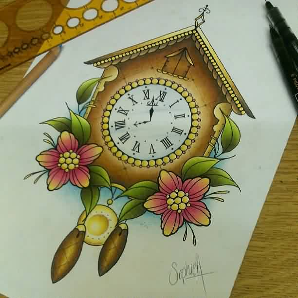 Cuckoo Clock And Flowers Tattoo Designs