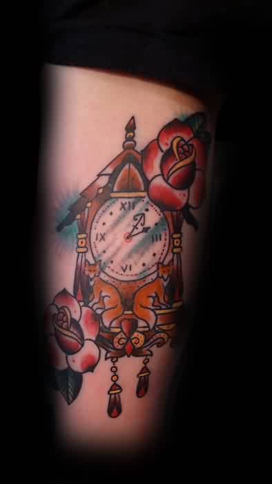 Cuckoo Clock And Squirrel Tattoos On Thigh