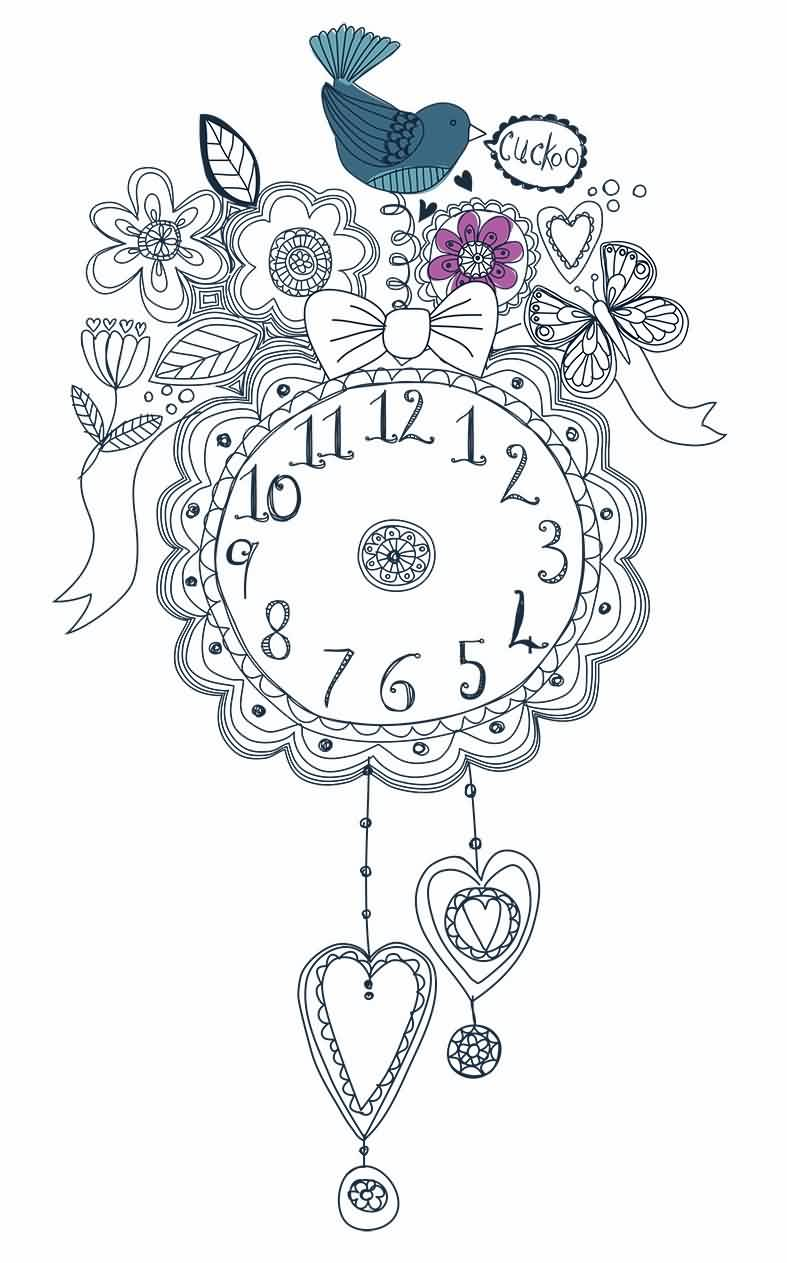 Cuckoo Clock With Ribbon Tattoo Design