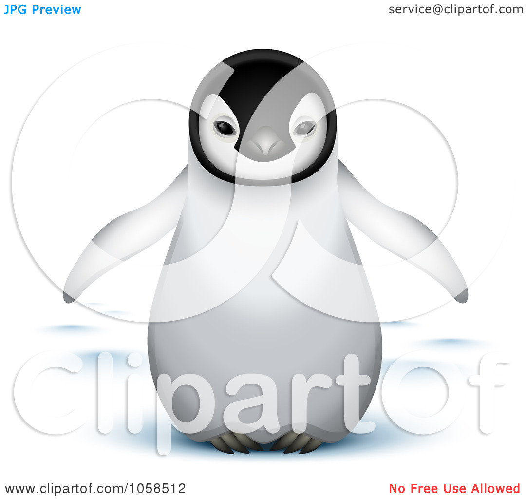 Cute 3D Baby Emperor Penguin Tattoo Design