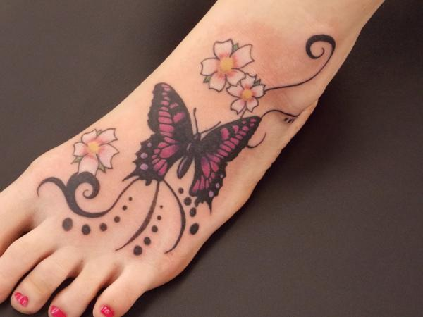 Cute 3D Flowers And Butterfly Tattoos On Foot