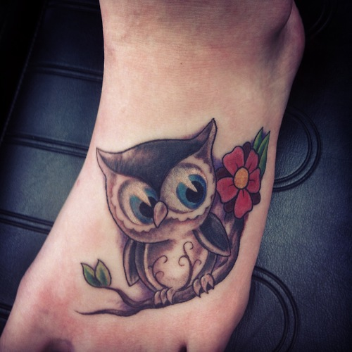 Cute owl tattoos on foot - photo#1