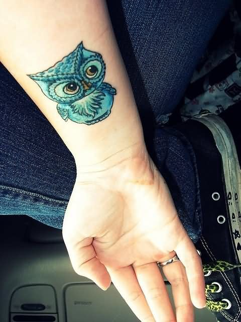 Cute Blue Owl Tattoo On Inner Wrist