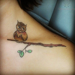 Cute Brown Owl On Branch Tattoo