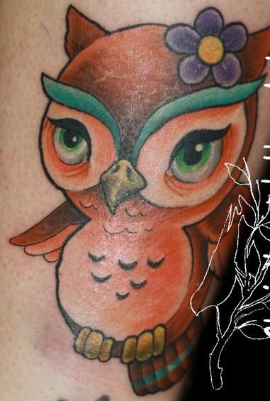 Cute Brown Owl Tattoo