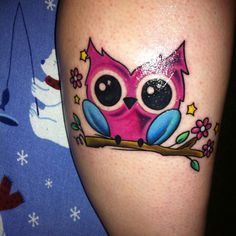 Cute Cartoon Owl On Branch Tattoo