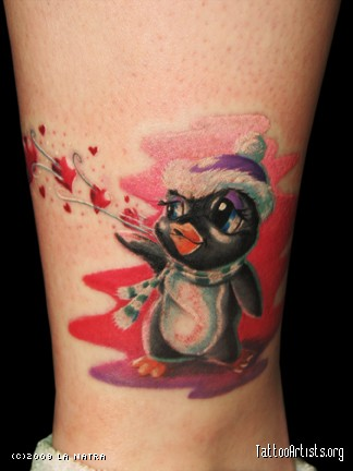 Cute Christmas Penguin Tattoo