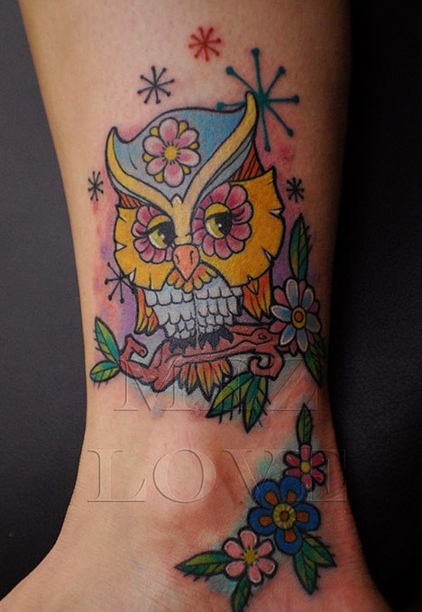 Cute Color Owl And Flower Tattoos