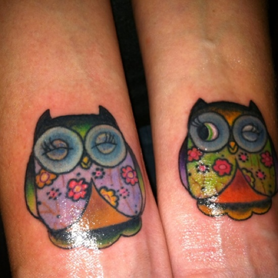 Cute Color Owl Tattoos