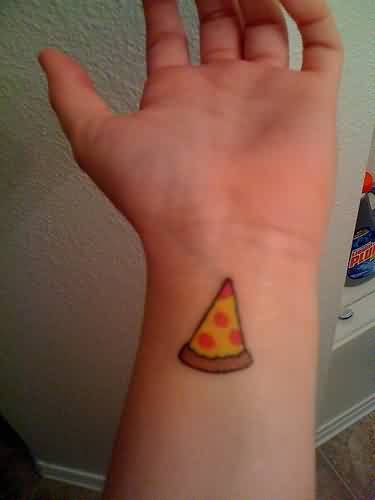 Cute Color Pizza Tattoo On Wrist