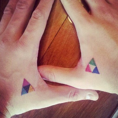 Cute Colorful Triangle Tattoos On Hands