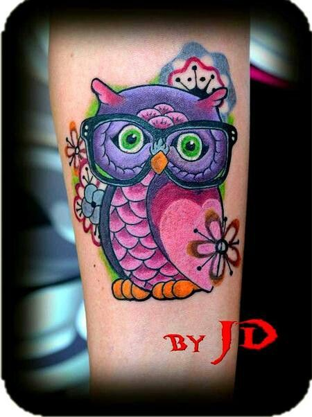 Cute Flowers And Owl Tattoos