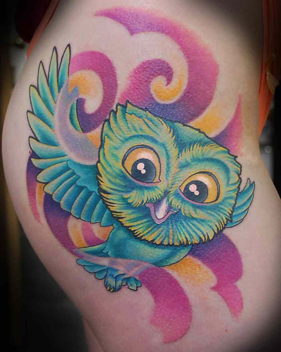 Cute Flying Owl Tattoo On Hip