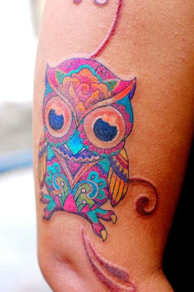 Cute Full Color Owl Tattoo On Arm