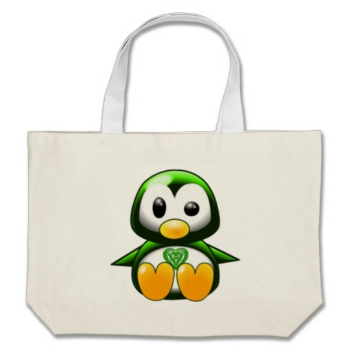 Cute Green Irish Penguin Cartoon With Celtic Knot Bat Tattoo