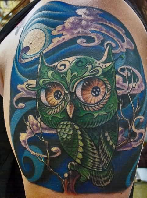 Cute Green Owl Tattoo On Shoulder